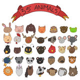 Animal heads vector. Collection of doodle style animal heads Stock Images