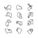 Animal heads vector thin line flat icons. Set of animal deer bear and lion. Illustration linear head animals Royalty Free Stock Photography