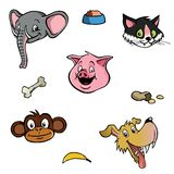 Animal heads wallpaper background. Tileable wallpaper / background with various animal heads Stock Photo