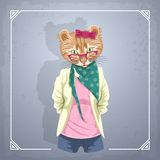 Animal hipster girl Stock Photo