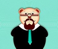 Animal hipsters bear with beard. Bear with beard wearing glasses Stock Photo