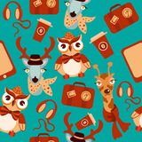 Animal hipsters seamless background Royalty Free Stock Photo