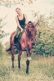 Young woman ridding on a horse Royalty Free Stock Images