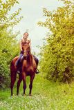 Young woman sitting on a horse Royalty Free Stock Images