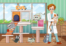 Animal hospital with vet and cats Stock Photos