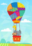 Animal In Hot Air Balloon. Baby animals in a quilted hot air balloon. Eps10 Stock Photos