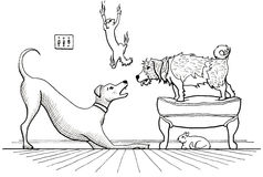Animal House. Illustration of two dogs playing loudly while one cat hides, and another cat scatters and slides down the wall Stock Image
