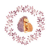 Animal hugs - mother hedgehog embrace her child. Watercolour in floral wreath Stock Photography