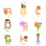 Animal A-I del alfabeto Imagen de archivo libre de regalías