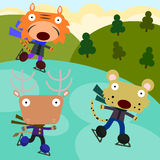 Animal ice skaters Stock Images