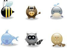 Animal Icon 6. Animal Icon Set 6: Bee, Bull, Whale, Dolphin, Raccoon and Walrus stock illustration
