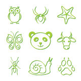 Animal Icon Set. Vector Green Animal Icon Set royalty free illustration