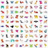 Animal icon set. Animals, birds, fishes and insects large icon set. Various  colorful images on white background. Can be used as seamless background Stock Image