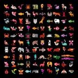 Animal icon set on black Stock Photos