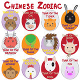 12 animal icon set,Chinese Zodiac animal.  Royalty Free Stock Photo