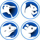 Animal icon set. Line art animal icon set on isolated white background vector illustration