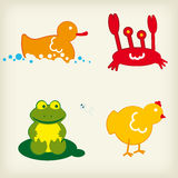 Animal icons 1. Set of four (of twelve) animal icons Royalty Free Stock Image