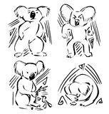 Animal icons - logos with koala - illustrations, stickers. With emotions - self-confidence, anger, fear, caring. Line art, image with decor elements stock illustration