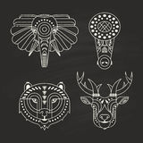 Animal Icons. Animal portraits made in unique geometrical flat style. Vector heads of elephant, crocodile, bear, deer. Isolated icons for your design Stock Photos