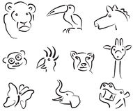 Animal icons set. (abstract sketch picture Stock Image
