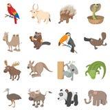 Animal icons set, cartoon style Royalty Free Stock Photography