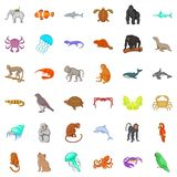 Animal icons set, cartoon style Stock Images