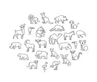 Animal icons. Zoo Animals. Animal icons. vector outline icon set Royalty Free Stock Images
