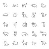 Animal icons. Zoo icons. Animal icons. vector outline icon set Stock Photography