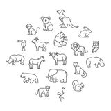 Animal icons. Zoo icons. Animal icons. vector outline icon set Stock Image