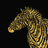 Animal illustration of vector zebra silhouette with golden sparkley elements. Royalty Free Stock Photo