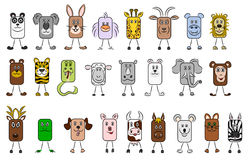 Animal illustrations. Lots of cute and funny illustrated animals royalty free illustration