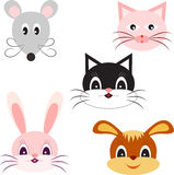 Animal Illutsration. Isolated animal illustrations of cat, dog, mouse and rabbit, pink cat, black and white cat, pink rabbit, bunny, brown dog, grey mouse, fauna Royalty Free Stock Image