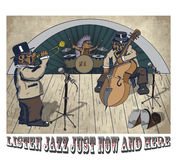 Animal jazz. Sticker cowboy and a herd of cows on the prairie Royalty Free Stock Photos