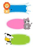 Animal label / frame. Cute colorful animal labels set isolated on white background Stock Images