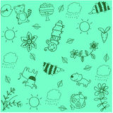 Animal and leaves doodle art. With green backgrounds Royalty Free Stock Photos