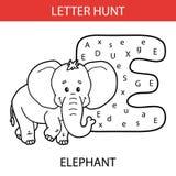 Animal letter hunt elephant. Vector illustration of printable kids alphabet worksheets educational game Letter hunt  for preschool children practice with cartoon Royalty Free Stock Photo