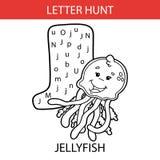 Animal letter hunt jellyfish. Vector illustration of printable kids alphabet worksheets educational game Letter hunt for preschool children practice with cartoon Vector Illustration