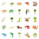 Animal life icons set, cartoon style. Animal life icons set. Cartoon set of 25 animal life vector icons for web isolated on white background Royalty Free Stock Photos