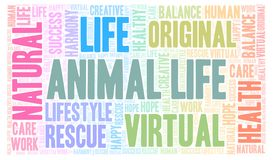 Animal Life word cloud. Wordcloud made with text only stock illustration