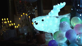 Animal light decorations in Christmas shop stock video
