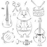Animal lindo exhausto de la mano aislado en el fondo blanco Gato e instrumentos musicales libre illustration