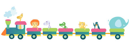 Animal little train. Cute colorful train with animals Royalty Free Stock Photo