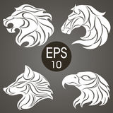 Animal logo design collection. Animal Emblem. Lion, Horse, Eagle, Wolf. Vector stock collection of animal's logotypes for your design Stock Photo