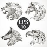 Animal logo design collection. Animal set. Lion, Horse, Eagle, Wolf. Vector stock collection of animal's logotypes for your design Stock Images