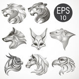 Animal logo design collection. Animal set. Lion, Horse, Eagle, Wolf, White bear, Husky, Fennec, Tiger. Vector stock collection of animal`s logotypes for your Stock Photos