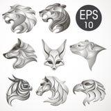 Animal logo design collection. Animal set. Lion, Horse, Eagle, Wolf, White bear, Husky, Fennec, Tiger Stock Photos