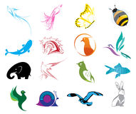 Animal Logo Icons Set Royalty Free Stock Photography