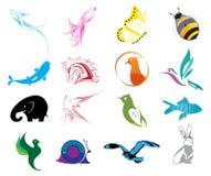 Animal Logo Icons Set. Vector illustration of animal logo colorful icons set on a white background Royalty Free Stock Photography