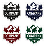 Animal Logo with Mountain and Tree Vintage Concept Stock Images