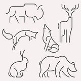 Animal logo set. Vector line forest animals logo set. Linear figure bison, deer, fox,wolf, hare, bear Royalty Free Stock Photography